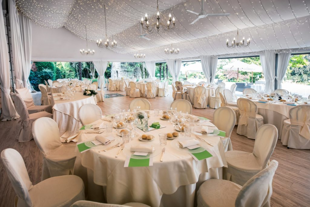 Wedding reception venue in a large marquis